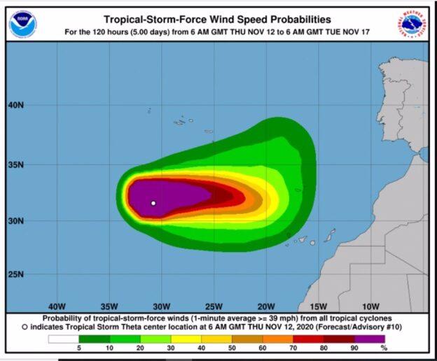 Orkanen Theta på väg mot Teneriffa
